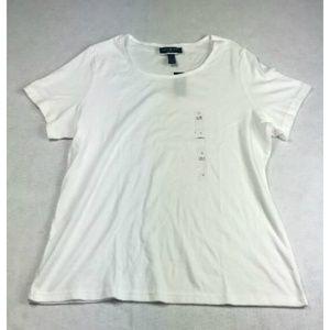 Karen Scott Women's Neck T-Shirt White Sz 1X D509